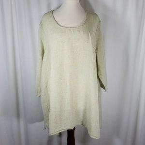 Flax Sz 1G Light Green Tunic Cotton/Linen Blend